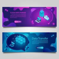 Data technology banner set for business with isometric design
