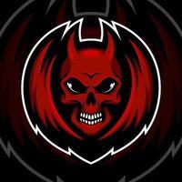 Red devil on black background vector