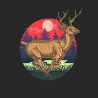 ciervos en vector de ilustración de bosque
