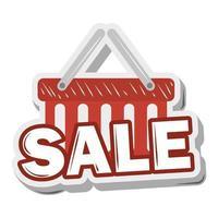 shopping basket sale sticker funny cartoon design vector