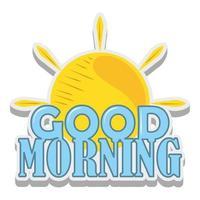 good morning sun sticker cartoon design vector