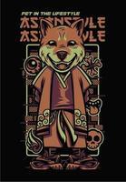 Dog japanese style tshirt. Shiba Inu illustration