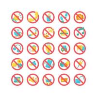 Prohibition Sign flat icon set. Vector and Illustration.