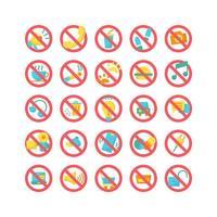 señal de prohibición conjunto de iconos planos. vector e ilustración.