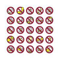 Señal de prohibición llena de conjunto de iconos de contorno. vector e ilustración.
