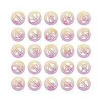 señal de prohibición conjunto de iconos de degradado. vector e ilustración.
