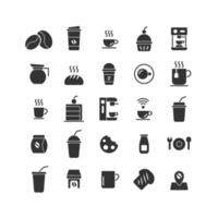 conjunto de iconos sólidos de cafetería. vector e ilustración.