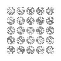 señal de prohibición conjunto de iconos de contorno. vector e ilustración.