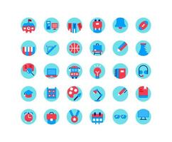 Education flat icon set. Vector and Illustration.