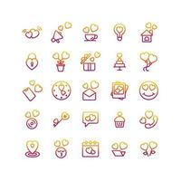 Valentines Day gradient icon set. Vector and Illustration.
