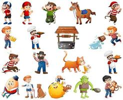 Set of different nursery rhyme character isolated on white background vector