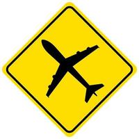 Low flying aircraft ahead yellow sign on white background vector