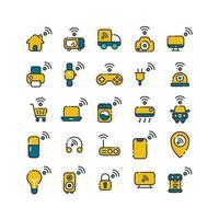 Internet de las cosas lleno de conjunto de iconos de contorno. vector e ilustración.