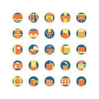 conjunto de iconos planos de oficina de trabajo. vector e ilustración.