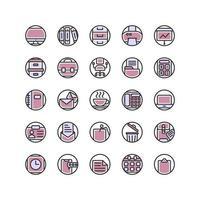 conjunto de iconos de contorno lleno de oficina de trabajo. vector e ilustración.