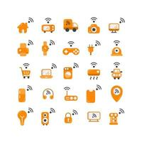 Internet of Things flat icon set. Vector and Illustration.