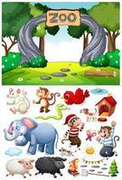 Escena del zoológico con personajes y objetos de dibujos animados aislados vector