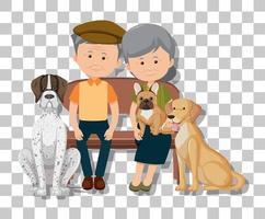 pareja de ancianos con sus perros vector