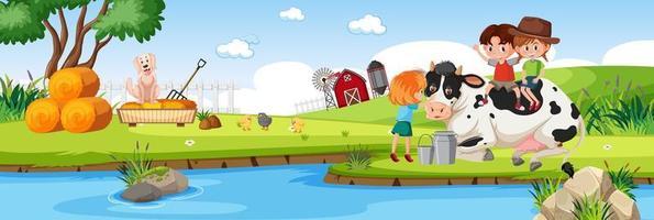 Children in nature farm horizontal landscape scene at day time vector