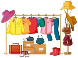 Isolated clothes on the rack display vector