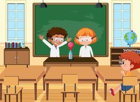 joven estudiante haciendo un experimento científico en la escena del aula vector