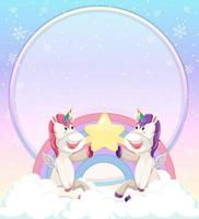 Blank banner with cute unicorns sitting on the cloud vector