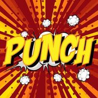 PUNCH wording comic speech bubble on burst vector