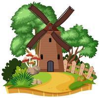 casa de molino de viento de campo aislada vector