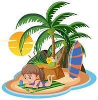 niña tomando el sol en la isla aislada vector