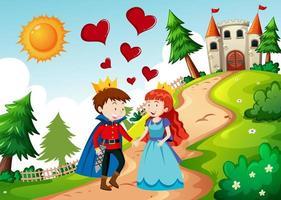 príncipe y princesa con el castillo en la escena de la naturaleza vector