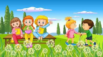 Kids playing at outdoor nature vector