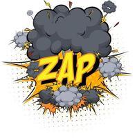 palabra zap sobre fondo de explosión de nube cómica vector