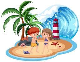 niños tomando fotos en la playa vector