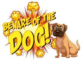 Comic speech bubble with beware of the dog text vector