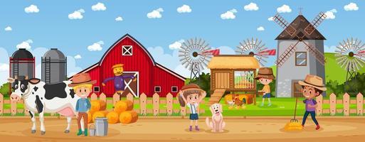 gente en la granja rural. vector