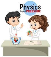 Scientist explaining physics liquid pressure vector