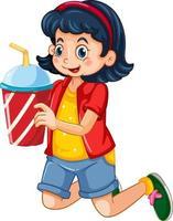 Una linda chica sosteniendo una taza de bebida personaje de dibujos animados aislado sobre fondo blanco. vector