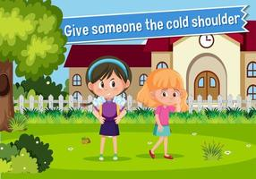 English idiom with picture description for give someone the cold shoulder vector