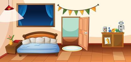 interior de dormitorio con muebles vector
