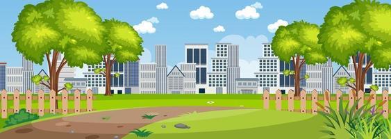 escena de la ciudad desde la vista del parque vector