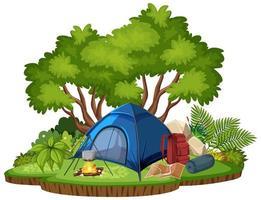 Escena de camping aislado sobre fondo blanco. vector