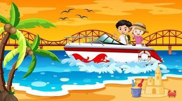Escena de playa con niños de pie en una lancha rápida. vector