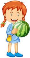 Una niña sosteniendo un personaje de dibujos animados de frutas de sandía aislado sobre fondo blanco. vector