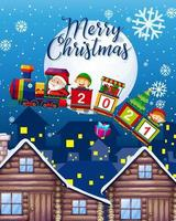 Merry Christmas font with Santa Claus and elf fly in the sky at night vector