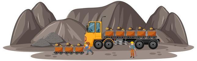 Escena de minería de carbón con camión de construcción. vector