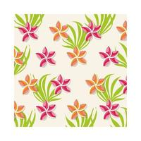 pink flowers plants tropical pattern background vector