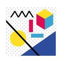 cartel abstracto con colores geométricos y figuras vector