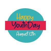 feliz día de la juventud letras en estilo plano de marco circular
