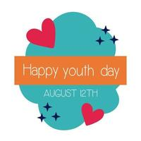 happy youth day lettering with hearts flat style