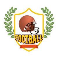 Casco de fútbol americano en escudo emblema vector